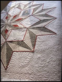 Quilt of Honor for Jane Ann Jordan Henderson. Pieced by Bobbie Jarrett and quilted by Carla Barrett. (J: great quilting and I like the large one block for the whole quilt.)