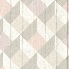 Geometric Wood Panelling Pink and Grey wallpaper by Albany