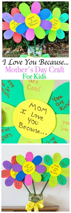 It's not hard for kids to make something Mom will love. This easy DIY I Love You Because.. Mother's Day Craft Flowers helps kids voice just how much they love their Mom with a homemade gift she will cherish. It can be made at school, preschool or at home. It's Simple enough that toddlers can be involved! Make it even more special with a customized Photo in the center. You can also make one for Grandma!