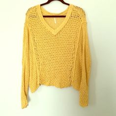 Chunky cotton knit sweater Yellow cotton knit sweater. Great for winter in LA! Free People Sweaters V-Necks