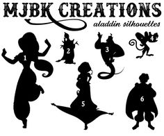 Aladdin Jasmine Genie Abu Magic Carpet Jafar by MJBKCreations Disney Silhouette Art, Disney Silhouettes, Silhouette Vinyl, Aladdin And Jasmine, Jafar, Shrink Plastic, Magic Carpet, Art Clipart, Disney Crafts