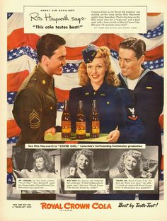1943 vintage WW2 ad, Royal Crown Cola w/ Rita Heyworth, Gorgeous!! -121512
