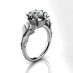 Decorum Floral 14K White Gold 1.0 Ct White by DecorumRings on Etsy