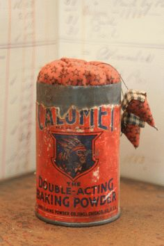 vintage tin. ( make a pin cushion out of ANYTHING )