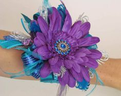 Prom+Wrist+Corsage+with+Boutonniere+in+Purples+&+by+justanns,+$48.00