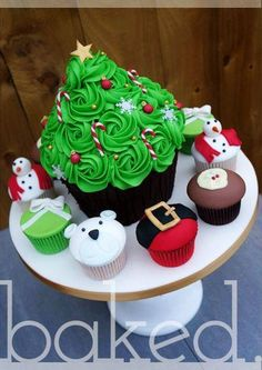 christmas tree giant cupcake with christmas cupcakes from baked cupcakery