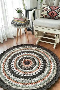 Free Creative Crochet Rug Patterns Your Floors With Ideas New 2020 – Page 3 of 30 – crochetsample. com Free Creative Crochet Rug Patterns Your Floors With Ideas New 2020 – Page 3 of 30 – crochetsample. Textured Carpet, Patterned Carpet, Carpet Crochet, Crochet Rug Patterns, Crochet Rugs, Crochet Mandala Pattern, Mandala Rug, Doily Rug, Deco Zen
