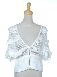 Anna-Kaci S/M Fit White Polyester Cotton Open Knit Ruffle Crochet Shrug Sweater