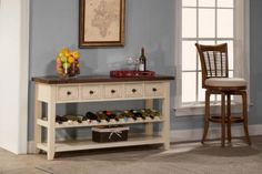 Hillsdale Tuscan Retreat Wine Rack Hall Table in Country White