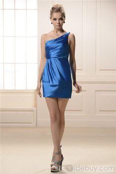 Fashionable Beading A-Line Short/Mini-length One-Shoulder Bridesmaid Dress