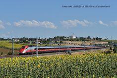 Un ETR500 Frecciarossa a Creti (AR) sulla DD Roma-Firenze in viaggio verso nord.