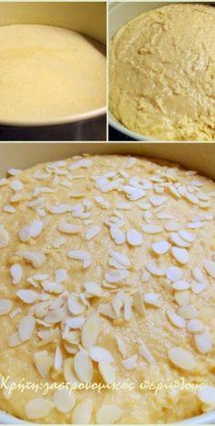 Σιροπιαστή ταχινόπιτα με σιμιγδάλι (αλάδωτη) - cretangastronomy.gr Lemon Recipes, Greek Recipes, Hamburger, Pie, Bread, Cheese, Cooking, Sweet, Desserts