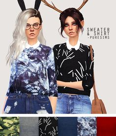 Pure Sim: Sweater and shirt • Sims 4 Downloads