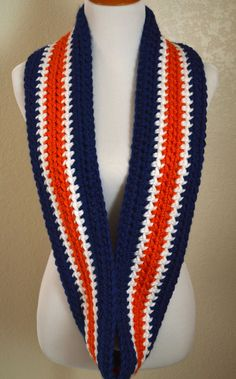 Blue, White and Orange Striped Infinity Scarf, Crocheted Scarf, Denver Broncos Scarf, Chicago Bears Scarf, Syracuse Scarf