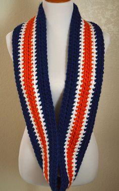 Blue, White and Orange Striped Infinity Scarf, Crocheted Scarf, Denver Broncos Scarf, Chicago Bears Scarf, Syracuse Scarf