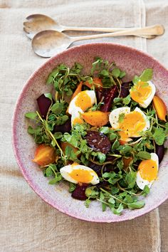 Beet and Watercress Salad with Farm Eggs. The combination of hard boiled eggs and beets is one of my daughter's favorites. She especially likes pickled or Harvard beets on her salad. Could substitute with already prepared beets (in glass jars at the market). Make sure they are gluten free and no food starch added, which is not always GF.