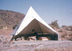 Apprentice desert tent in the 1950s, Taliesin West