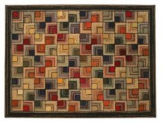 "Antique American Geometric Hooked Rug  Early 20th Century  Bold, graphic geometric with vivid colors in ""Log Cabin"" inspired design"