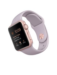 Apple Sport watch rose gold aluminum with lavender sport band