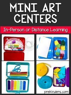 Mini Art Centers for In-Person or Distance Learning Art Center Preschool, Preschool Classroom Setup, Preschool Arts And Crafts, Art Classroom, Classroom Organization, Classroom Management, Classroom Ideas, Kindergarten Centers, Kindergarten Art Activities