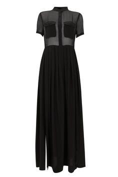 100% black silk maxi dress