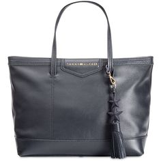 Tommy Hilfiger Th Extra-Large Tassel Shopper Tote ($111) ❤ liked on Polyvore featuring bags, handbags, tote bags, tommy navy, navy purse, pebbled leather tote, navy tote, tommy hilfiger handbags and tommy hilfiger tote bag