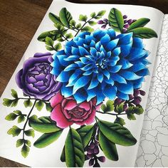 simply gorgeous! By @sundaymorningcreations From Fleurs: 100 coloriages by Lidia Kostanek