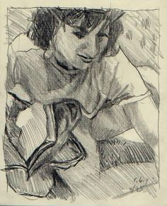 Susan with back pack on the grass. Pencil on buff paper. Chuck Boyer