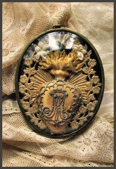 Antique French Domed Sacred Heart Reliquary