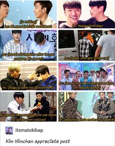 Himchan is amazing. I love B.A.P's bond so much; calling them friends is an understatement. They're family.