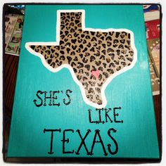 "DIY ""She's like Texas"" painted Canvas."