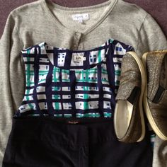 grey Agnes B sweatshirt cardi, patterned Kiin top, navy Phase 8 trousers, R&B sparkle shoes Sparkle Shoes, Capsule Wardrobe, Trousers, Michael Kors, Navy, Sweatshirts, Pattern, Collection, Tops