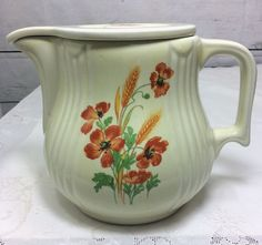 Hall China Wild Poppy and Wheat Radiance #3 Jug with Cover  #Hall