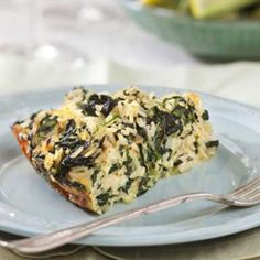 Rice, Cheddar and Spinach Pie