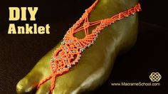 How to Make a Macrame Barefoot Sandal Anklet with beads. It's beautiful summer jewelry for the feet. #Macrame #Jewelry