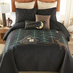 A Black Forest Décor Exclusive - A dreamy night sky hovers over a sleepy cabin scene featuring a bear and deer on this 100% cotton bedding with cotton-poly blend fill. Sets include quilt and two shams (twin has one; king has king shams). Machine wash. Allow 1 to 2 weeks. Cotton Bedding, Quilt Bedding, Cotton Pillow, Bedding Sets, Southwestern Bedding, Quilt Sets Queen, Black Forest Decor, Rustic Bedding, Blanket Cover