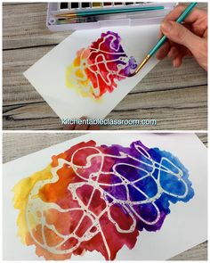Try this fun watercolor technique that uses rubber cement as a resist plus eight other painting techniques for kids to try. painting techniques Watercolor for Kids- 9 Watercolor Techniques for Any Age - The Kitchen Table Classroom Kids Crafts, Summer Crafts, Creative Crafts, Creative Art, Easy Crafts, Adult Crafts, Diy Crafts Videos, Creative Ideas, Kids Watercolor
