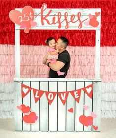 Step right up to our Hello Love Kissing Booth! This freestanding cardboard prop is printed with a rustic wood look with pink and red hearts. Valentines Games For Couples, Valentines Photo Booth, Valentine Backdrop, Valentines Day Photos, Valentines Day Birthday, Valentines Day Activities, Valentine Day Crafts, School Decorations, Valentine Decorations