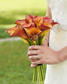 bride in grass holding red and orange calla lily bouquet 14 Fall Inspired Wedding Bouquets Orange Blossom Bride | Orlando Wedding Blog #orlandoweddingflorist Bridal Bouquet Fall, Wedding Bouquets, Wedding Centerpieces, Floral Wedding, Fall Wedding, Wedding Flowers, Flower Studio, Orlando Wedding, Orange Blossom
