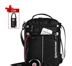 Suissewin Fashion Unisex Messenger Shoulder Bag 11 inch Ipad Bag Black Students Casual Oxford Bag Satchel