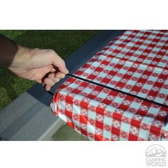 Table Bungee: Keep your tablecloth in place on windy days. Elastic table bungees stretch to fit around the end of any standard picnic table.
