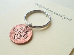 Personalisierte paar Schlüsselbund Lucky Penny von JewelryEveryday