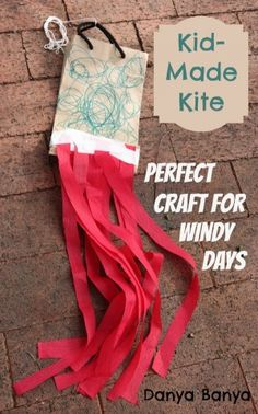 Kid-Made Kite perfect craft for windy days (No Time for Flash Cards)