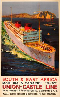 Original Vintage Posters -> Travel Posters -> South and East Africa Union Castle Line - AntikBar