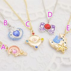 Super+cute,+do+you+want+it?+Share+with+your+bff+^-^  The+necklae+is+made+of+metal  Options: A-Moon+Stick+ B-Heart+Crystal C-Prism+Moon D-Purple+Bow E-Bunny+in+crescent+moon