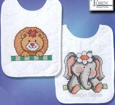 Tobin Stamped #crossstitch  NOAH'S ARK Bibs #baby #DIY #crafts #needlework #crossstitching