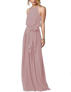 Amore Bridal Flowy Simple Beach Boho Dress Halter Long Bridesmaid Gown Blush, 14