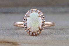 14k Rose Gold Oval Fire Opal Diamond Halo Love Ring Art Deco Vintage