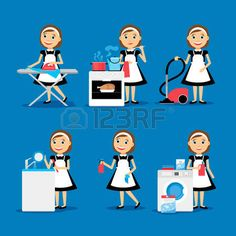 household chores: Multitasking housewife Vector illustration. Housekeeper woman ironing, cleaning, cooking and washing Illustration
