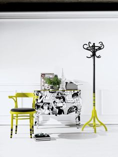 Pop art chairs and comic book furniture: here we go with Air chair, Concept Tailor Made nightstand and design coat stand Branch. This is one pop fluorescent...threesome :)